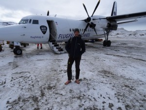Greenland crossing expedition - arriving in flip flops at Kulusuk RS