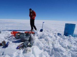 20 Greenland expediton - leaving a cache of food for upcoming hungry expeditioners low on food RS