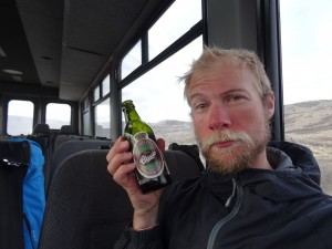 31 Greenland expediton - a well deserved cold beer after 27 days crossing the Greenland ice cap RS